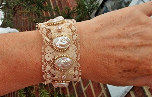 s from Occupied Japan. I Embellished Them with Gold Seed Beads, Gold Tinge Faux Pearls, & Creamy Beige Lace Bracelet Cuff. (Creamy Faux Pearl)