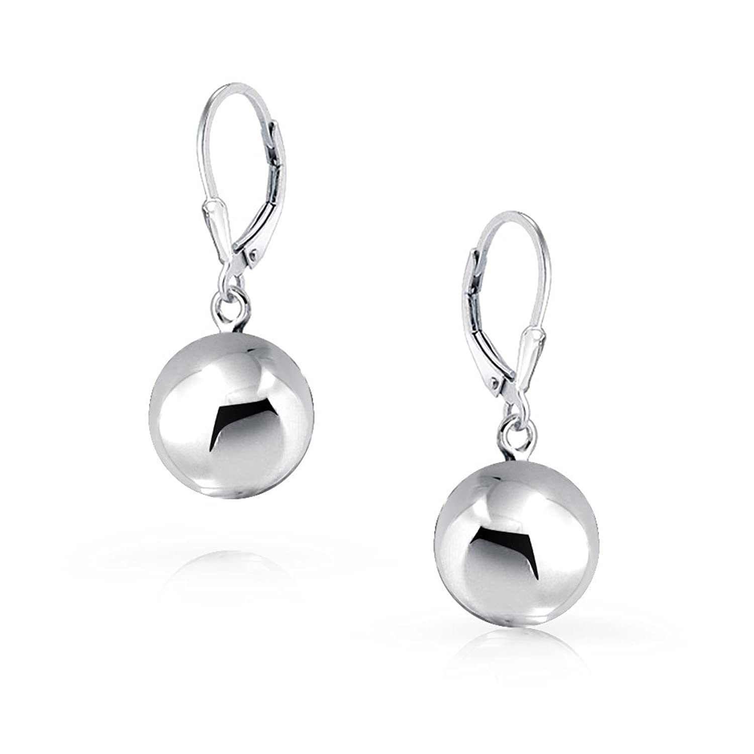 8511b8ad4f933 Sterling Silver Round Bead Ball Leverback Earrings 10MM: Amazon.co ...