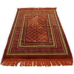 Best Quality Velvet Islamic Prayer Rug Janamaz Sajjadah Muslim Namaz Seccade Turkish Prayer Rug (Pink)