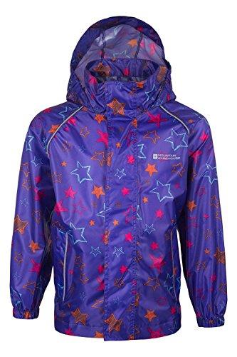 Mountain Warehouse Kids Waterproof Rain Jacket for Girls Printed Purple 7-8 years