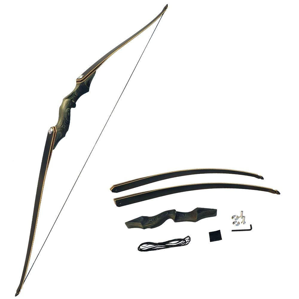 MILAEM 60'' Archery Takedown Recurve Bow Adult Right Hand Hunting Wood Bow American Longbow 30-60Lbs Draw Weight (30 Lb)