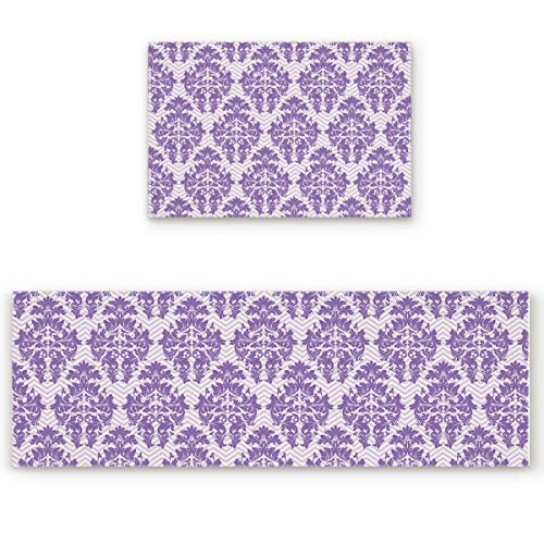 BMALL Kitchen Rug Mat Set of 2 Piece European Style Purple Damask Wallpaper Decorative Pattern Inside Outside Entrance Rugs Runner Rug Home Decor 23.6x35.4in+23.6x70.9in