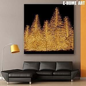 Árbol de Navidad 2-canvas impresión con luces LED, pared arte Deco, obras de arte moderno lienzo imagen lienzo sobre marco de madera juego de 1, negro/blanco, 50*50