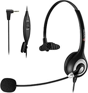 Phone Headset 2.5mm, Enhanced Noise Canceling Mic & Mute Switch Telephone Headset for Panasonic AT&T Vtech Uniden Cisco Grandstream Polycom Cordless Phones