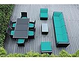 Genuine Ohana Outdoor Sectional Sofa and Dining Wicker Patio Furniture Set (14 pc set) with Free Patio Cover (Sunbrella Aruba) For Sale