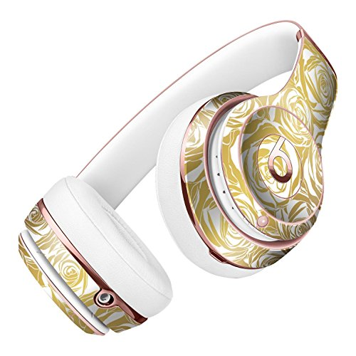Gold and White Roses DesignSkinz Full-Body Skin Kit for the Beats by Dre Solo 2 Wireless Headphones / Ultra-Thin / Matte Finished / Protective Skin Wrap by iiRov