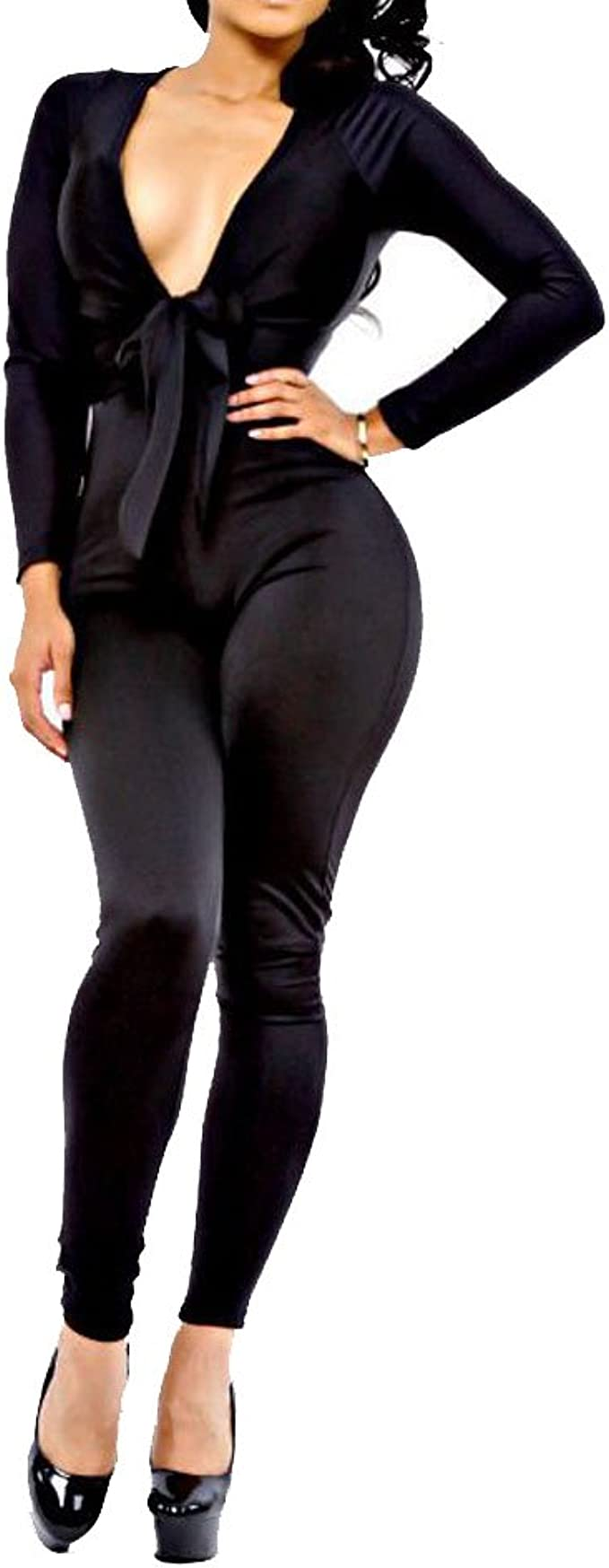 Cromoncent Womens Long-Sleeve Romper Tights Playsuit V Neck Jumpsuit