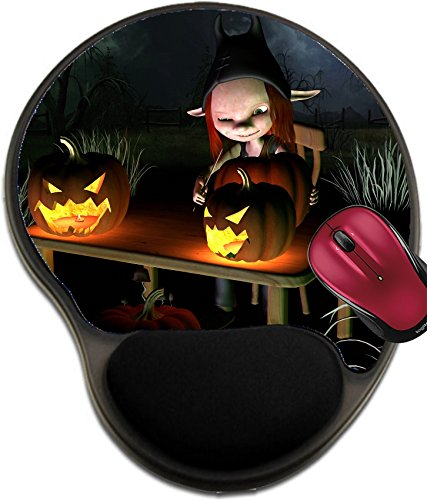 Liili Mousepad wrist protected Mouse Pads/Mat with wrist support design IMAGE ID 32913908 Little goblin carving spooky Halloween pumpkin lanterns with dark Halloween background 3d (Pumpkin Carving Halloween Designs)