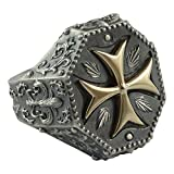 Knights Templar Maltese Cross Mens Ring Fleur De Lis Silver 925 and 10K Gold Masonic Jewelry