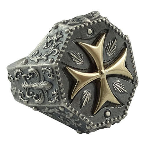 Knights Templar Maltese Cross Mens Ring Fleur De Lis Silver 925 and 10K Gold Masonic Jewelry by SECRETIUM
