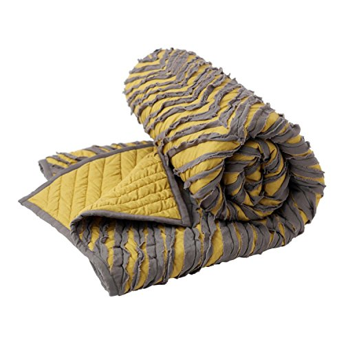Hallmark Home Gray and Gold Lap Quilt with Ruffled Detail (Racks Pottery Wine Barn)