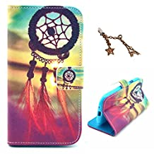 Uming® Retro Colorful Pattern Print Leather case for Apple Iphone 5S 5G 5 IPhone5 IPhone5S Apple5S Wind Chime Sunlight Wind Feather PU Flip Leather Holster with Stand Stander Holder Hand Free Credit Card Slot Wallet Hasp Magnet Magnetic Button Buckle Shell Protective Mobile Cell Phone Case Cover Bag + 1 x Anti Dust Plug - Wind Chime