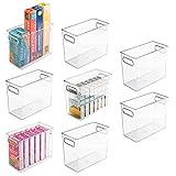 mDesign Tall Plastic Kitchen Pantry Cabinet, Refrigerator or Freezer Food Storage Bin with Handles - Organizer for Fruit, Yogurt, Snacks, Pasta - Food Safe, BPA Free - 10' Long, 8 Pack - Clear