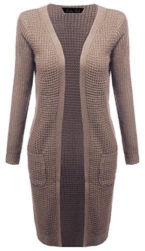 Ladies' Code Waffle Duster Long Open Sweater Knit Cardigan w/Pockets Khaki L Size