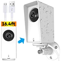 Wyze Cam Pan Protective Case with Wall Mount and 16.4ft USB Power Extension Cable, Weather Proof Adjustable for Indoor and Outdoor Anti-Sun Glare and UV Protection Very Easy to Install (White)