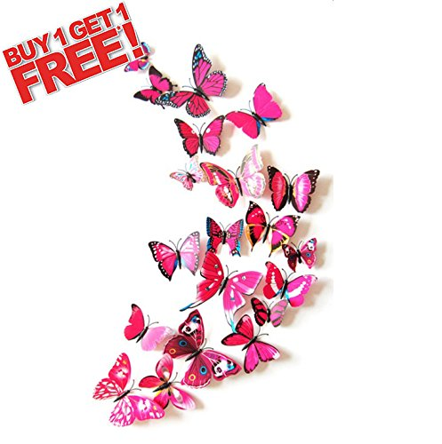 Vivid Butterfly 3D Wall Stickers Home Art Decal Colors 12Pcs Mix Sizes Kids Room (pink)