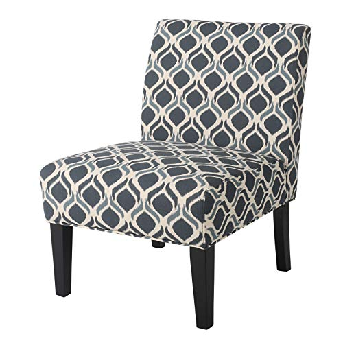 Modern Accent Chairs Set of 2 - Fabric Print Accent Side Chair - Contemporary Upholstered Club Chair - Reception Seat (Semi - Soft/Soft - Blue)