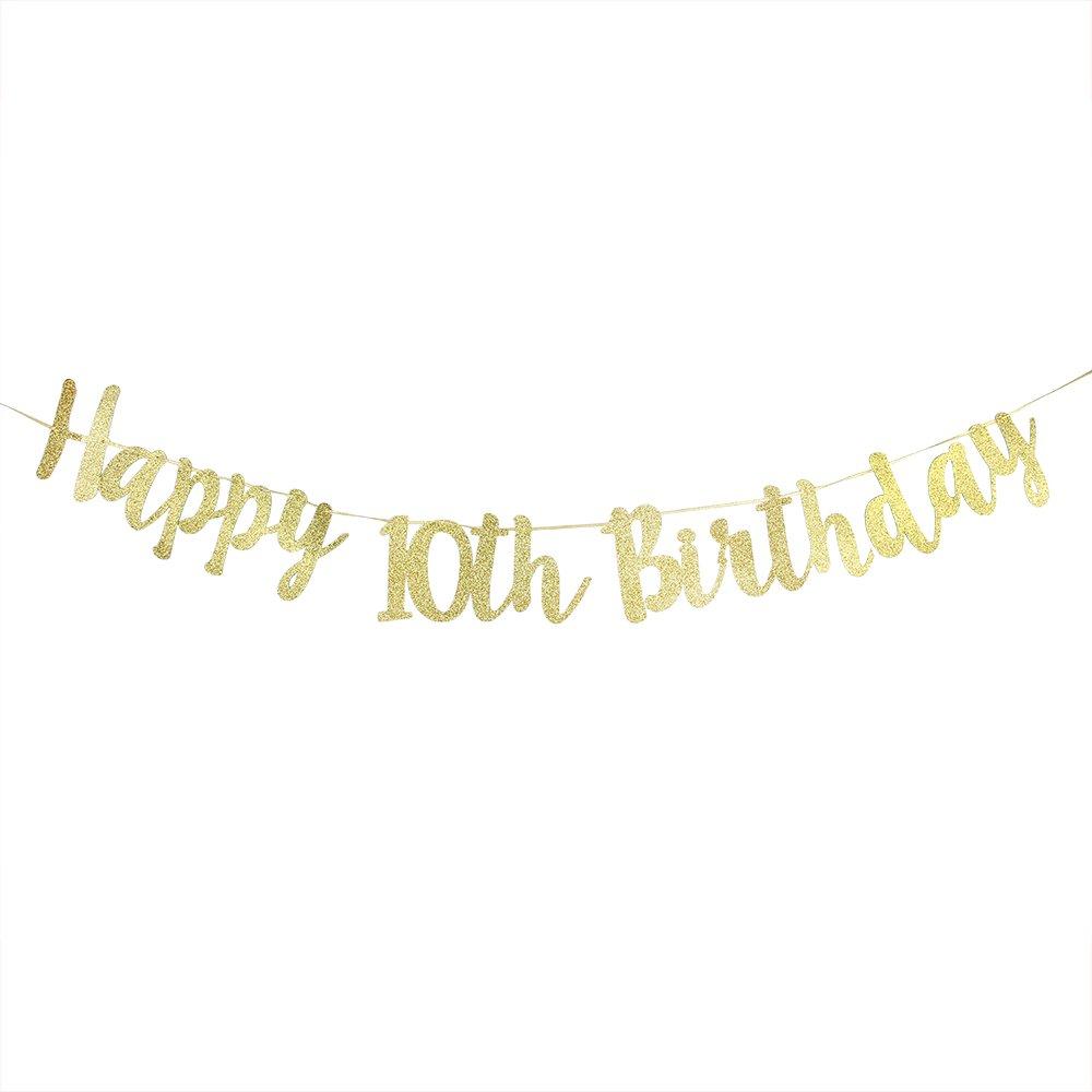 Karoo Jan Happy 21st Birthday Banner Gold Glitter Twenty one Birthday Hang Bunting/Birthday Party Decorations Supplies