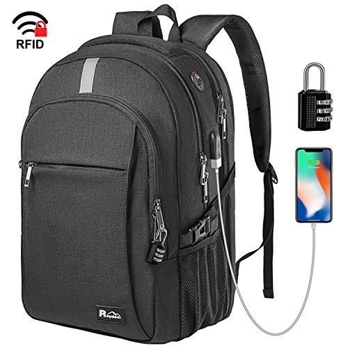 Raydem Business Laptop Backpack, Extra Large TSA Friendly Durable Anti-Theft Travel Backpack with USB Charging Port, Water Resistant College School Computer Bag for Women & Men Fits 15.6