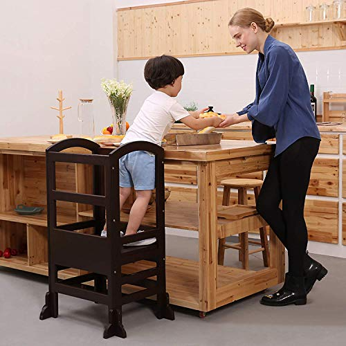 UNICOO- Height Adjustable Kids Learning Stool, Kids Kitchen Step Stool, Toddler Stool with Safety Rail-Solid Hardwood Construction. Perfect for Toddlers (Espresso - 02) by UNICOO (Image #2)