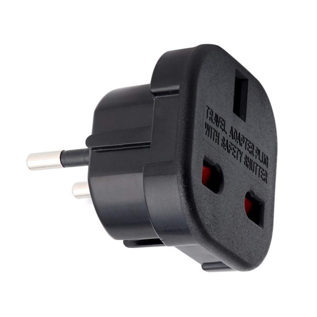 Reiseadapter UK auf EU Deutschland 2X schwarz Netz-Stecker Gro/ßbritannien England  Euro-Stecker Adapter Reisestecker GB englisch zu DE deutsch