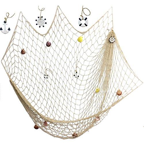 Antique Cotton Nautical Fishing Net Beach Party Mediterranean Style - 1
