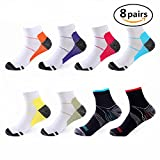 Compression Socks 8 Pairs, 15-20 mmhg is Best Foot Athletic Medical for Men & Women, Gym Sport Arch Support Plantar Fasciitis Low Cut Running, Suitable for Flight, Travel, Nurses, Hiking, basketball