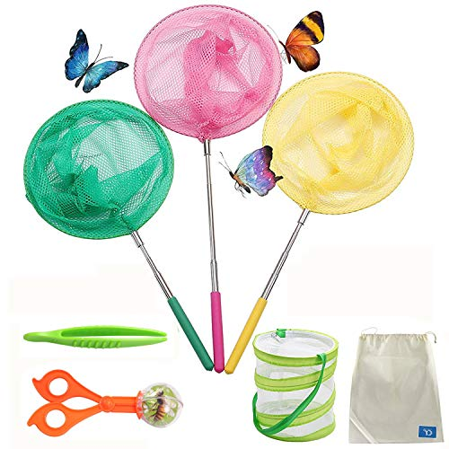 (COOLIZ Telescopic Butterfly Net Kit for Kids (6 Pack Bug Insect Catching Nets Extendable 34