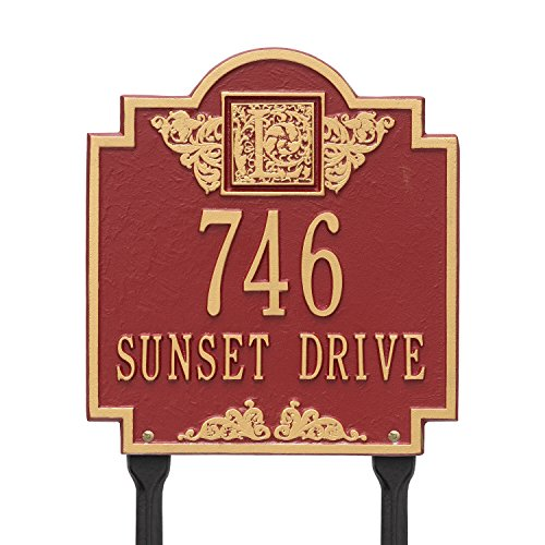 (Whitehall Products Monogram Standard Lawn Square Red/Gold 2-Line Address Plaque)