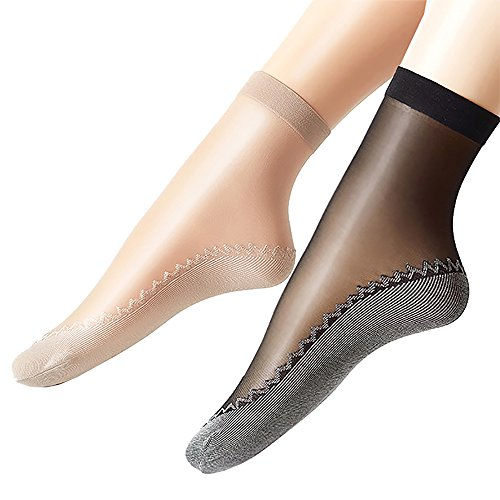 Ueither+Women%27s+12+Pairs+Silky+Anti-Slip+Cotton+Sole+Sheer+Ankle+High+Tights+Hosiery+Socks+Reinforced+Toe%28Black%26+Beige%29