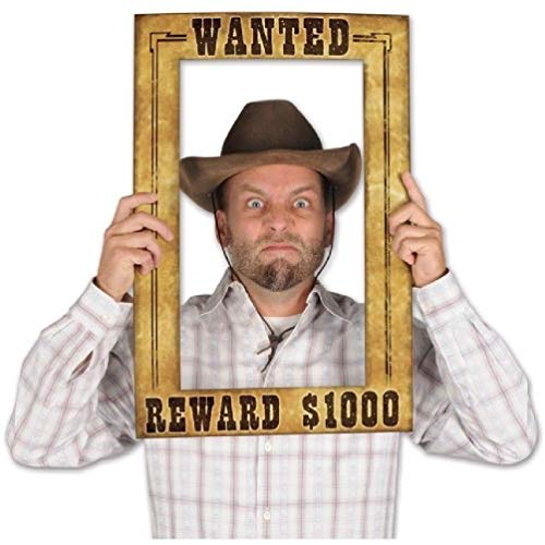 Wanted Reward Poster Photo Frame Cowboy Cowgirl Wild West Party Prop ()