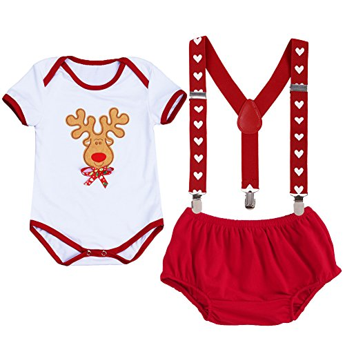 Her And Costumes His Nerd (Baby Girls Boys Newborn My First Christmas Picture Costume Short/Long Sleeve Romper+Y Back Clip Suspenders+Striped Pant Outfits)