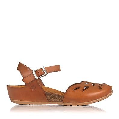 2df140d63 Yokono Capri 003 Low Wedge Peep Toe Sandal EU 41   UK 8 Tan  Amazon ...