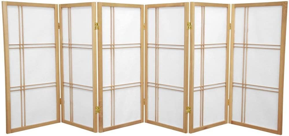 Oriental Furniture 3 ft. Tall Double Cross Shoji Screen - Natural - 6 Panels