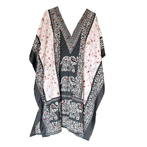 Short Black Elephant Kaftan Women's Plus Size Top Poncho Dress Beach Cover Up Mini Dress (Elephant Kaftan)