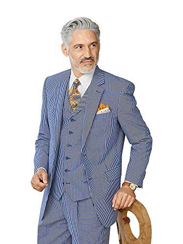 Paul Fredrick Men's Cotton Seersucker Stripe Suit Jacket Navy/Blue 44 (Seersucker Stripe Jacket)