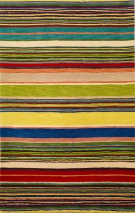 Transocean INCA 9441/24 STRIPES RED/MULTI Rug - 9'X12' (Inca Stripes Ocean Trans)