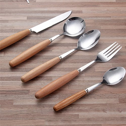 1 Set (5 Pcs/Set) Wooden Stainless Steel Cutlery Knife Fork Professional Coffee Latte Tea Ice Cream Sundae Dessert Soup Tablespoon Tableware Smashing Popular Pocket Spoons Outdoor Decor Tool Kit
