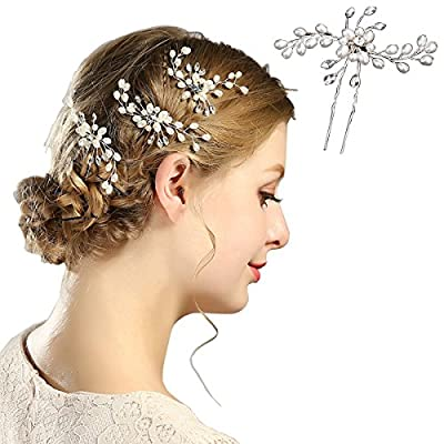 VVLife Crystals Bridal Wedding Jewelry Hair Accessories for Women