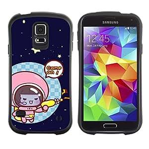Suave TPU Caso Carcasa de Caucho Funda para Samsung Galaxy S5 SM-G900 / Funny Cute Space Cat Kitten / STRONG