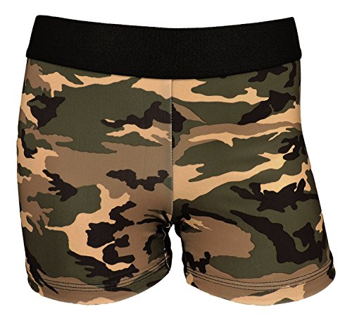 MadSportsStuff Womens 3 Inch Spandex Compression Shorts (Green Camo, Medium)