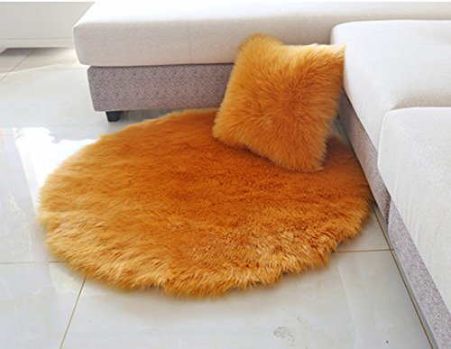 Meng Ge Faux Sheepskin Round Area Rug Silky Shag Rug Fluffy Carpet Rugs Floor Area Rugs Decorative for Living Room Girls Bedrooms by Meng Ge
