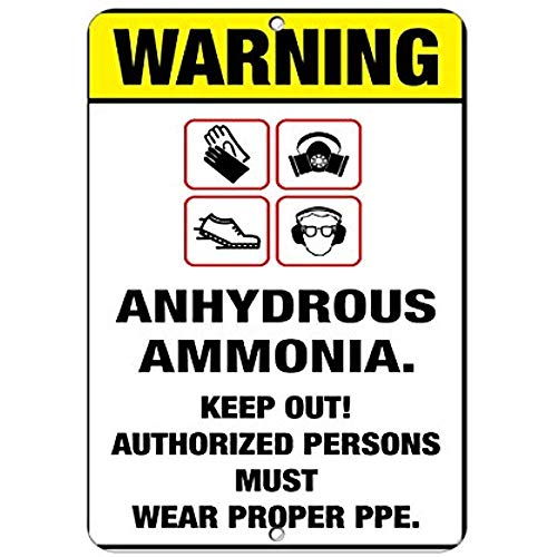 - Dreamawsl Notice Board Warning Boots Gloves Goggles Respirator Anhydrous Ammonia Aluminum Metal Sign.12 x 8 tin Sign