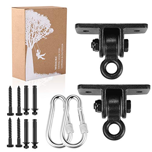 MDAIRC Heavy Duty Swing Hangers for Wooden Sets Playground Porch Indoor Outdoor & Hanging with Snap Hooks (2 Pack Black Swing Hook)