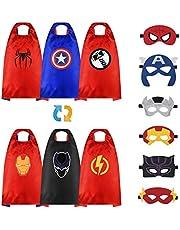 URAQT Superheld capes voor kinderen, 3-delige dubbelzijdige superheld satijnen cape en masker, superheld kostuum verkleedfeest voor Halloween kerst, superheld speelgoed voor 2-12 jaar oude jongens meisjes (6 rollen)