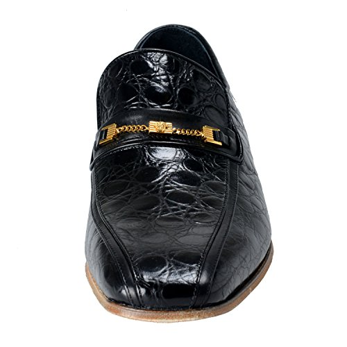 Versace Mens Mocassini In Pelle Stampa Coccodrillo Nero Ci Us 11 It 44;