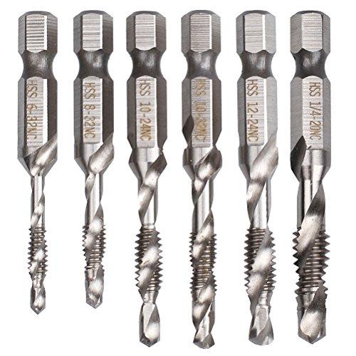 Hugesavings 6Pcs Combination Drill And Tap Bit Set Hss Deburr Countersink Bit With 1/4 Hex Shank Tool Kit (Hex Tap Shank)