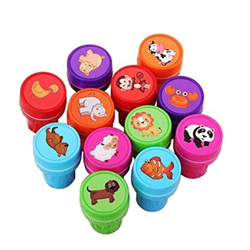 Iumer Self-Ink Rubber Stamps Event Supplies Birthday Gift Toys Boy Girl Gift 12PCS Fruit