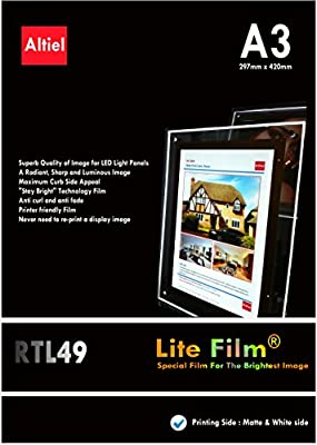 50 sheets x A3 (420mm x 297mm): Lite Film for Backlit Film Displays, Excellently printable with Inkjet printers & Laser Copiers, suitable for all LED Lightbox / LED Panels / LED Art Lightbox etc
