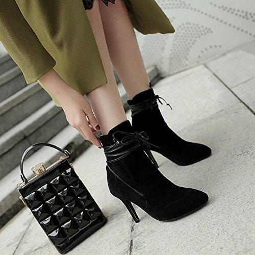 Charme Voet Dames Mode Spitse Neus Lace Up Hoge Hak Korte Laarzen Zwart